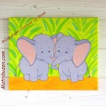 "Tableau enfant savane/jungle ""Fanfan et Fifine""- adorables éléphants"